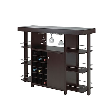 Brassex 12532 Bar with Smoked Glass Top, Expresso