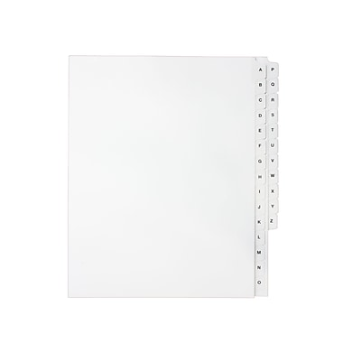 Mark Maker Legal Exhibit Index Tab Set of White Single Tabs, 1/15th Cut, Letter Size, No Holes, Letters A-Z