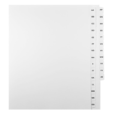 Mark Maker Legal Exhibit Index Tab Set of White Single Tabs, 1/15th Cut, Letter Size, No Holes, Letters AA-ZZ