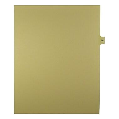 Mark Maker – Onglets séparateurs juridiques beiges, 1/15 onglets, format lettre, sans trous, numéro 20, 25/paquet