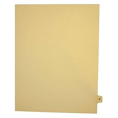 Mark Maker – Onglets séparateurs juridiques beiges, 1/15 onglets, format lettre, sans trous, lettre N, 25/paquet