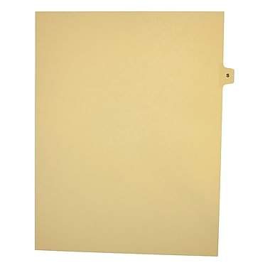 Mark Maker Legal Exhibit Index Tab Buff Single Tabs, 1/15th Cut, Letter Size, No Holes, Letter S, 25/Pack