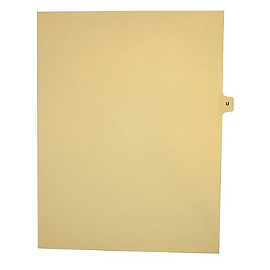 Mark Maker Legal Exhibit Index Tab Buff Single Tabs, 1/15th Cut, Letter Size, No Holes, Letter U, 25/Pack