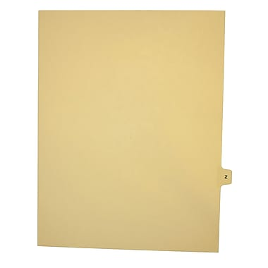 Mark Maker – Onglets séparateurs juridiques beiges, 1/15 onglets, format lettre, sans trous, lettre Z, 25/paquet