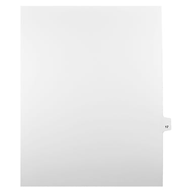 Mark Maker Legal Exhibit Index Tab White Single Tabs, 1/25th Cut, Letter Size, No Holes, Number 17, 25/Pack