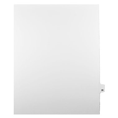 Mark Maker Legal Exhibit Index Tab White Single Tabs, 1/25th Cut, Letter Size, No Holes, Number 20, 25/Pack
