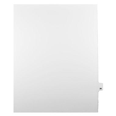 Mark Maker – Onglets séparateurs juridiques blancs, 1/25 onglets, format lettre, sans trous, numéro 20, 25/paquet