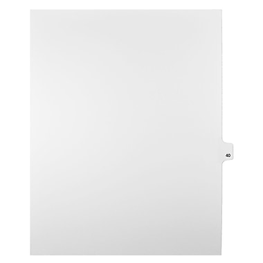 Mark Maker Legal Exhibit Index Tab White Single Tabs, 1/25th Cut, Letter Size, No Holes, Number 40, 25/Pack