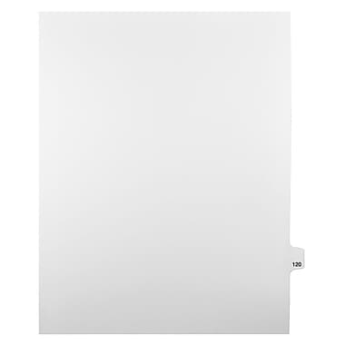 Mark Maker Legal Exhibit Index Tab White Single Tabs, 1/25th Cut, Letter Size, No Holes, Number 120, 25/Pack