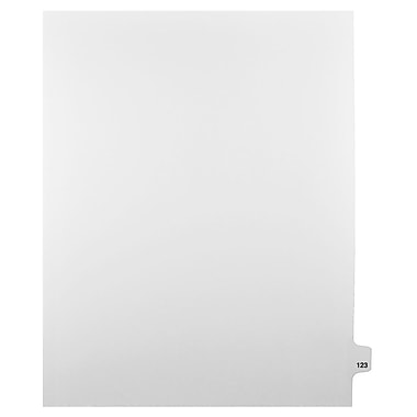 Mark Maker Legal Exhibit Index Tab White Single Tabs, 1/25th Cut, Letter Size, No Holes, Number 123, 25/Pack