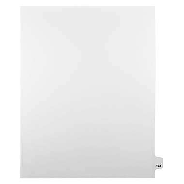 Mark Maker Legal Exhibit Index Tab White Single Tabs, 1/25th Cut, Letter Size, No Holes, Number 124, 25/Pack