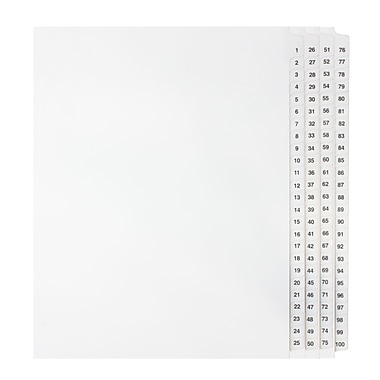 Mark Maker Legal Exhibit Index Tab Set of White Single Tabs, 1/25th Cut, Letter Size, No Holes, Number 1 - 100
