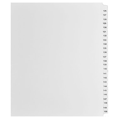Mark Maker Legal Exhibit Index Tab Set of White Single Tabs, 1/25th Cut, Letter Size, No Holes, Number 126 - 150