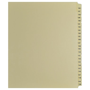 Mark Maker Legal Exhibit Index Tab Set of Buff Single Tabs, 1/25th Cut, Letter Size, No Holes, Number 126 - 150