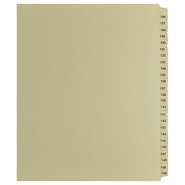 Mark Maker – Onglets séparateurs juridiques beiges, 1/25 onglets, format lettre, sans trous, numéros 126 à 150
