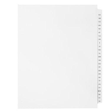 Mark Maker Legal Exhibit Index Tab Set of White Single Tabs, 1/26th Cut, Letter Size, No Holes, Letters AA-ZZ