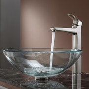 Kraus Clear Glass Vessel Sink and Virtus Faucet; Brushed Nickel