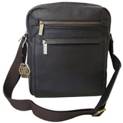 AmeriLeather Front Flap Messenger Bag; Dark Brown