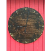 essex hand crafted wood products Oversized 30'' Stain Wood Wall Hanging Clock