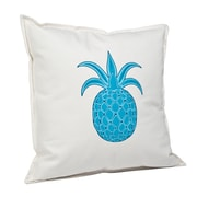 Greendale Home Fashions Pineapple Cotton Canvas Throw Pillow; Turquoise