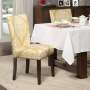 HomePop Yellow & Cream Damask Parsons Chair (Set of 2)