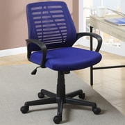 Poundex Mid-Back Mesh Task Chair with Arms; Blue