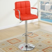 Poundex Adjustable Height Swivel Bar Stool (Set of 2); Red