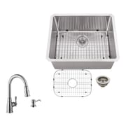Soleil 23'' x 19'' Single Bowl Radius Undermount Stainless Steel Bar Sink with Faucet