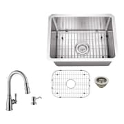 Soleil 20'' x 15'' Single Bowl Radius Undermount Stainless Steel Bar Sink with Faucet