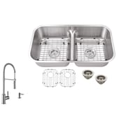 Soleil 32.5'' x 18.13'' Double Bowl Undermount Kitchen Sink with Low Divider and Faucet