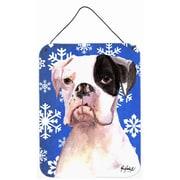 Caroline's Treasures Cooper Winter Snowflakes Boxer Aluminum Hanging Painting Print Plaque