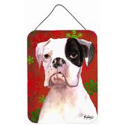 Caroline's Treasures Cooper Red Snowflakes Boxer Aluminum Hanging Painting Print Plaque