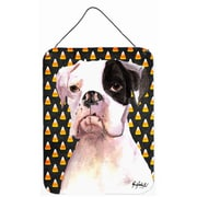 Caroline's Treasures Cooper Candy Corn Boxer Halloween Aluminum Hanging Painting Print Plaque