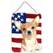 Caroline's Treasures Usa American Flag Chihuahua Aluminum Hanging Painting Print Plaque