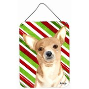 Caroline's Treasures Candy Stripe Chihuahua Christmas Aluminum Hanging Painting Print Plaque