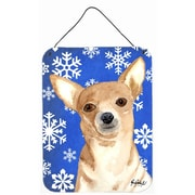 Caroline's Treasures White Snowflake Chihuahua Christmas Aluminum Hanging Painting Print Plaque