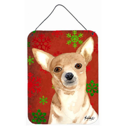 Caroline's Treasures Red Snowflake Chihuahua Christmas Aluminum Hanging Painting Print Plaque