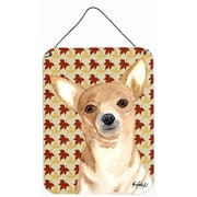 Caroline's Treasures Chihuahua Fall Leaves Aluminum Hanging Painting Print Plaque