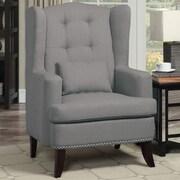 Poundex Bobkona Plano Arm Chair; Grey