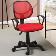Poundex Mid-Back Mesh Task Chair with Arms; Red