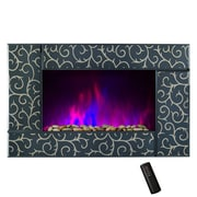 GoldenVantage Pebble and Log Interchangeable 36'' Wall Mount Electric Fireplace with Remote
