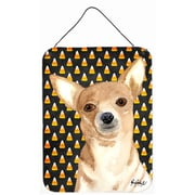Caroline's Treasures Candy Corn Chihuahua Halloween Aluminum Hanging Painting Print Plaque