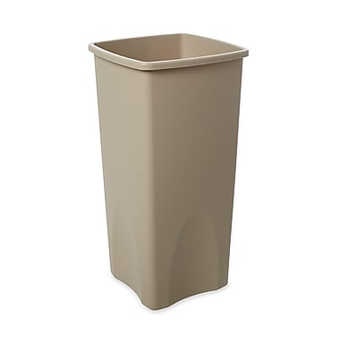Rubbermaid® Untouchable® Plastic Waste Receptacle, Beige, 23 gal.