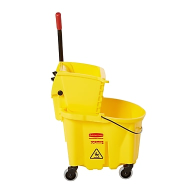 Rubbermaid® WaveBrake® Bucket/Side-Press Wringers Combo, Yellow, 26 qt.