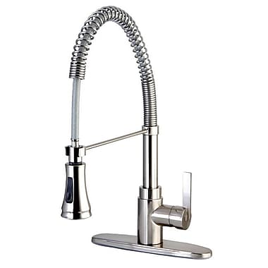 Kingston Brass Continental Gourmetier Single Handle Pull-Down Spray Kitchen Faucet; Satin Nickel
