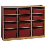 ECR4Kids Colorful Essentials  Multi-Purpose Cabinet 12 Compartment Cubby; Red