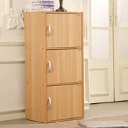 Hodedah 3 Door Storage Cabinet; Beech