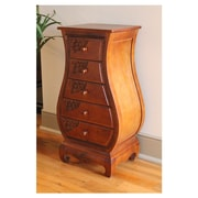 International Caravan Windsor 5-Drawer Hand Carved Bombay Chest