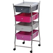 Evideco Four Drawers Storage Rolling Cart; Purple / Gray
