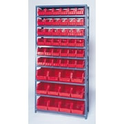 Quantum H Giant Hopper Shelf Storage System with Various Bins (Complete Package); Red